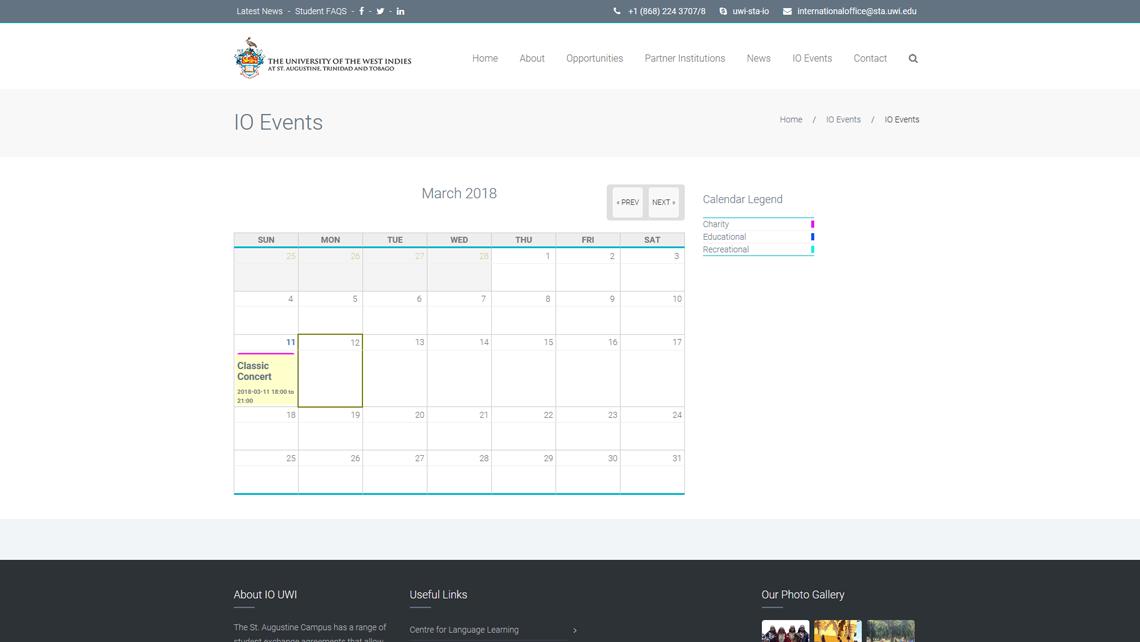 uwi international office event calendar